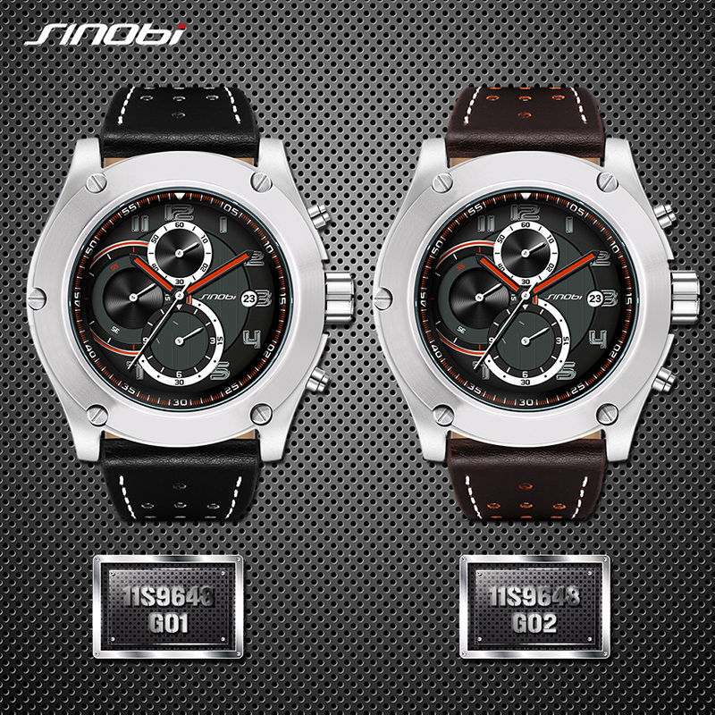 Image 5 - 2019 SINOBI Chronograph Calendar Waterproof Geneva Quartz Clock Military Hora Relogio Masculino Big Dial  Sports Quartz Watches-in Quartz Watches from Watches