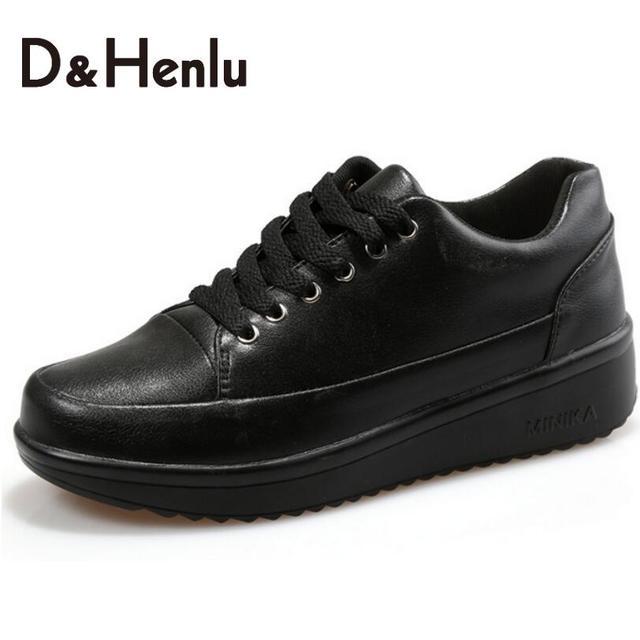 {D & H} женская Вулканизируют Обувь Женщина Кожаные Ботинки Женщины Плоские Мокасины противоскольжения Моды Случайные Кружева Кожа Черные Туфли Женщина