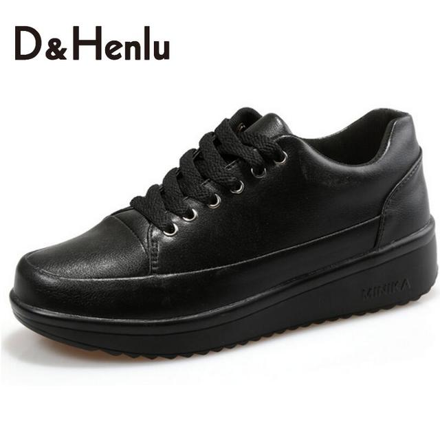 {D&H}Women's Vulcanize Shoes Woman Leather Shoes Woman Flat Loafers Anti skid Fashion Casual Lace Up Leather Black Shoes Woman