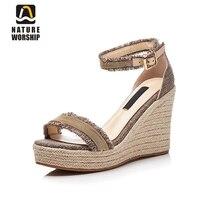 Природа поклонение новые модные туфли из натуральной кожи на высоком каблуке женские босоножки Летняя обувь с ремешками на щиколотке на та...