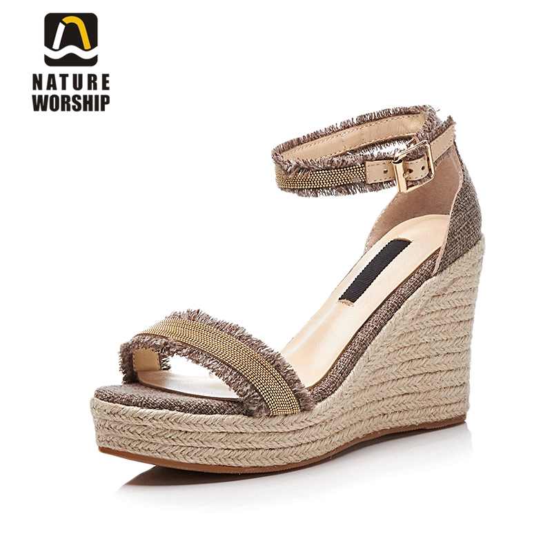 Nature Worship New Fashion Genuine Leather High Heels Women Sandals Ankle Strap Summer Shoes Wedges Platform Sandals Big Size 40 lenkisen genuine leather big size wedges summer shoes gladiator super high heels straw platform sweet style women sandals l45