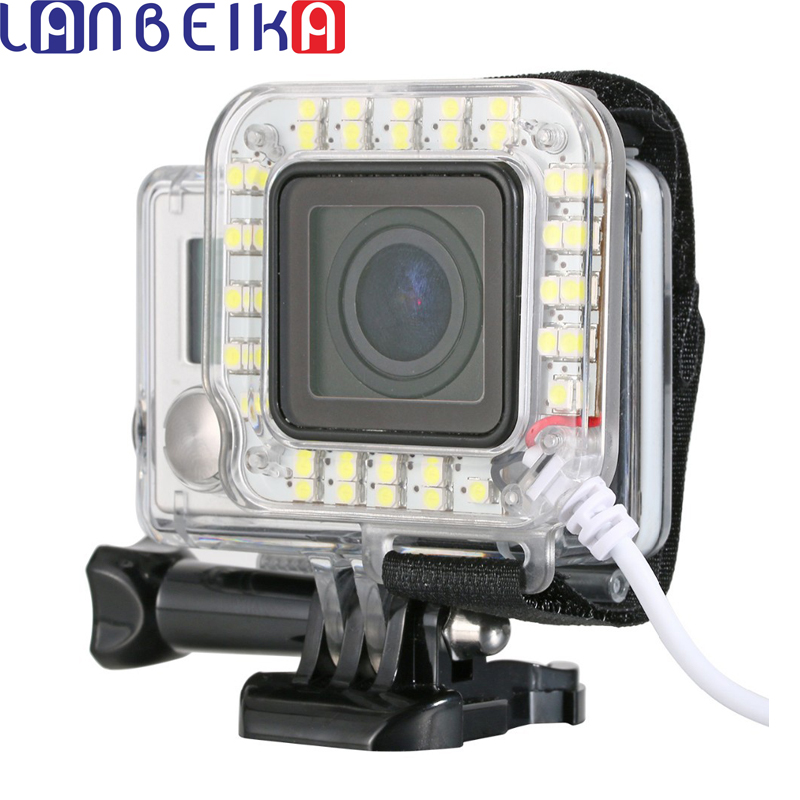 LANBEIKA For Go Pro Accessories Night Shot LED Fill Light Mount Gopro Hero 4 3+ Housing Lens For Go Pro Hero3+ Hero4