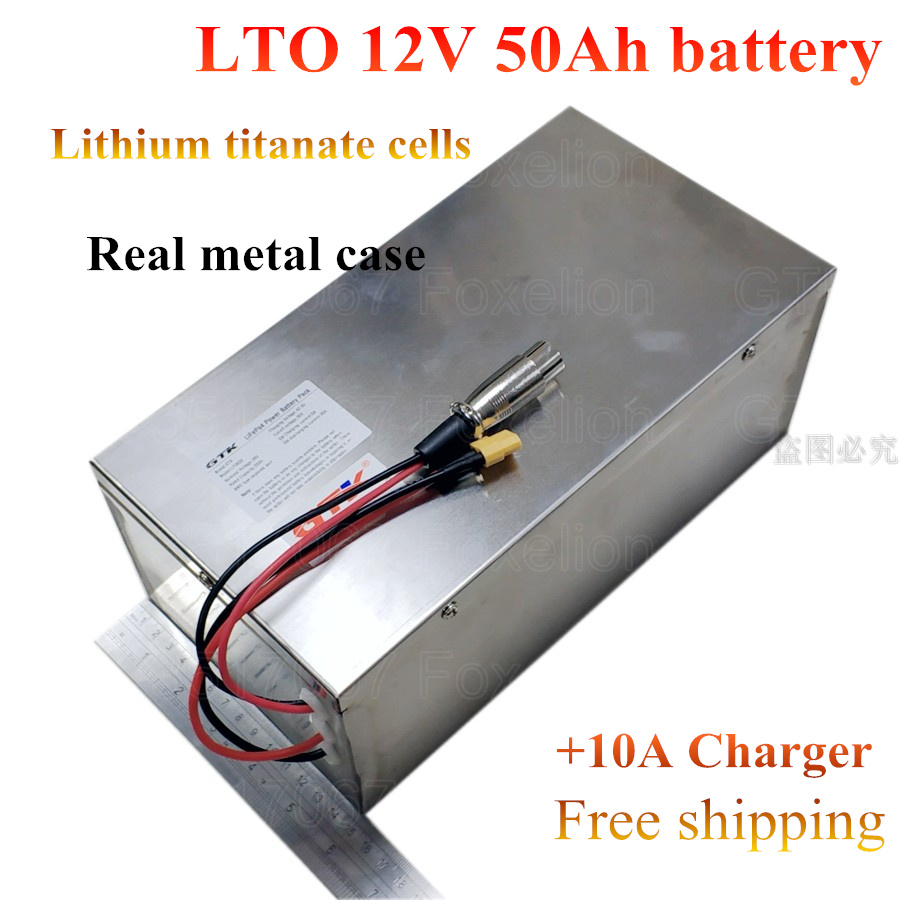 US $375 0 |GTK LTO 12V 50AH lithium titanate Battery Pack LTO cells for RV  Solar Car starting super Fast charge long life + 10A charger-in Replacement