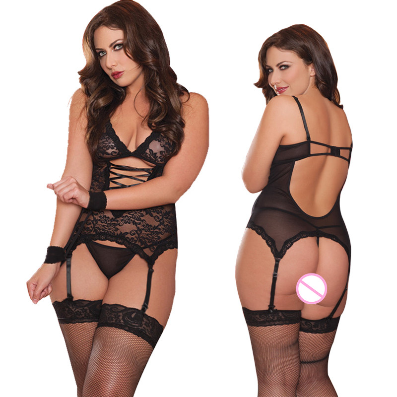 Buy New Arrival Lace V-neck Bandge Braces Openwork Sexy Lingerie Peignoir Erotic Costumes Underwear Plus Size Miniskirt G-string Set