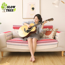 Slow Tree Cotton and Linen Sofa Cover Four Seasons Fresh Simple Cloth Art Cushion Couch Covers Anti-skid Gypsy Style Sofa Mat(China)