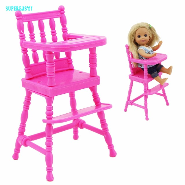 Fashion Pink Assembly Dinner Room Kindergarten Mini Furniture High Chair For Barbie Sister Kelly 1:12 Doll Dollhouse Accessories