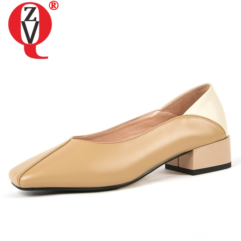 ZVQ shoes women spring newconcise casual high quality genuine leather women pumps outside square toe shallow
