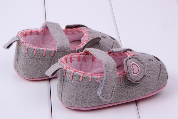 Cute Baby Girls First walkers Cotton Grey Cartoon Mouse Soft with Pattern Shading Soft Sole Baby Toldder Prewalkers Shoe 3 size 4