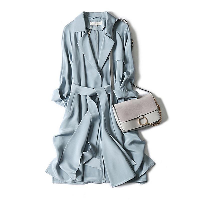 High-end Mulheres Windcoat Trench Coat 100% Seda Pesada Clássica Design Simples Dustcoat Caixilhos 2 Cores da Primavera 2019 Nova moda