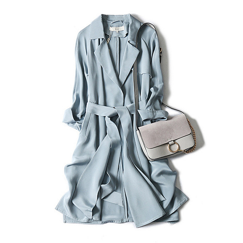 High-end Windcoat Women   Trench   Coat 100% Heavy Silk Classical Simple Design Dustcoat Sashes 2 Colors Spring 2019 New Fashion