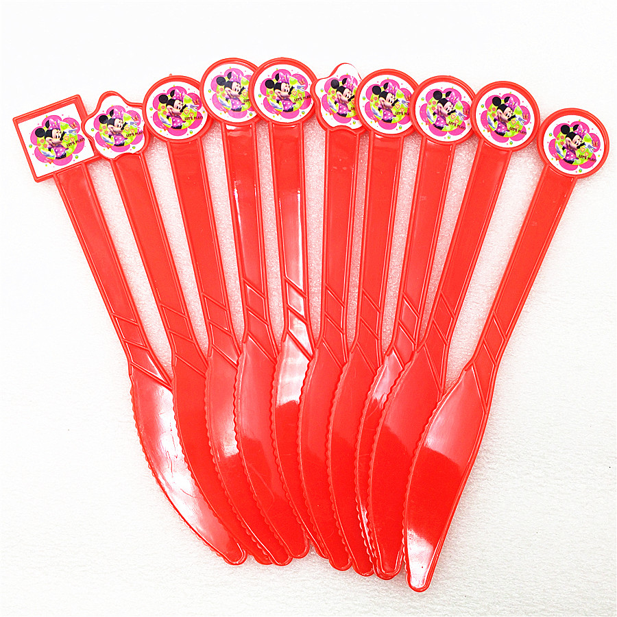 10pc Minnie Mouse Plastics Knives Party Supplies Cartoon Birthday Theme Decoration Baby Shower Festival For Kids Girls Boys