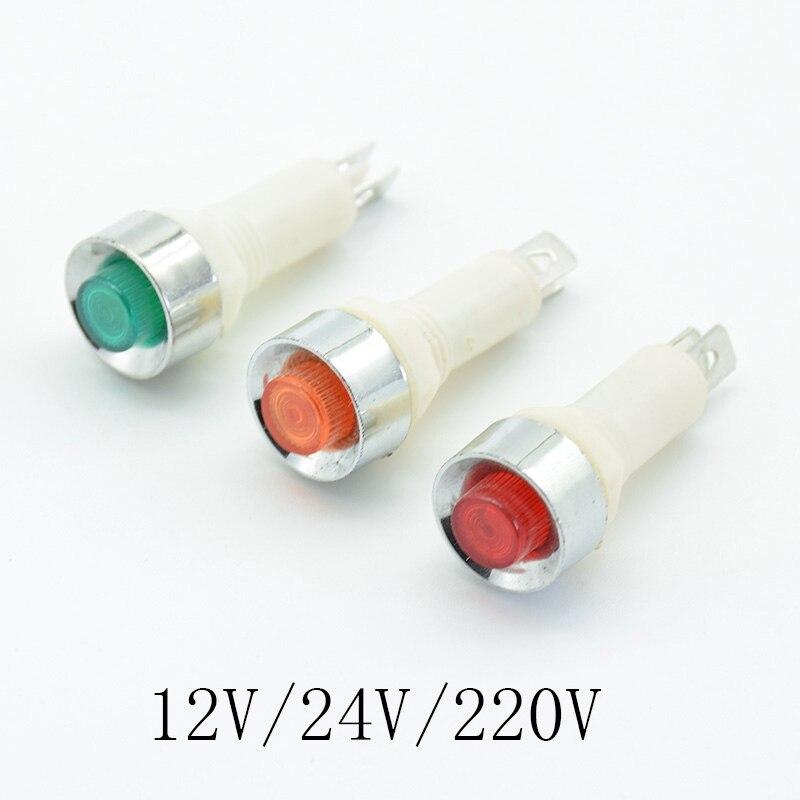 5 шт. сигнальная лампа панель монтажный неоновый Индикатор красный зеленый желтый свет 220В 12В/24В постоянного тока 10 мм NHC пилотная направляющая Световые индикаторы      АлиЭкспресс