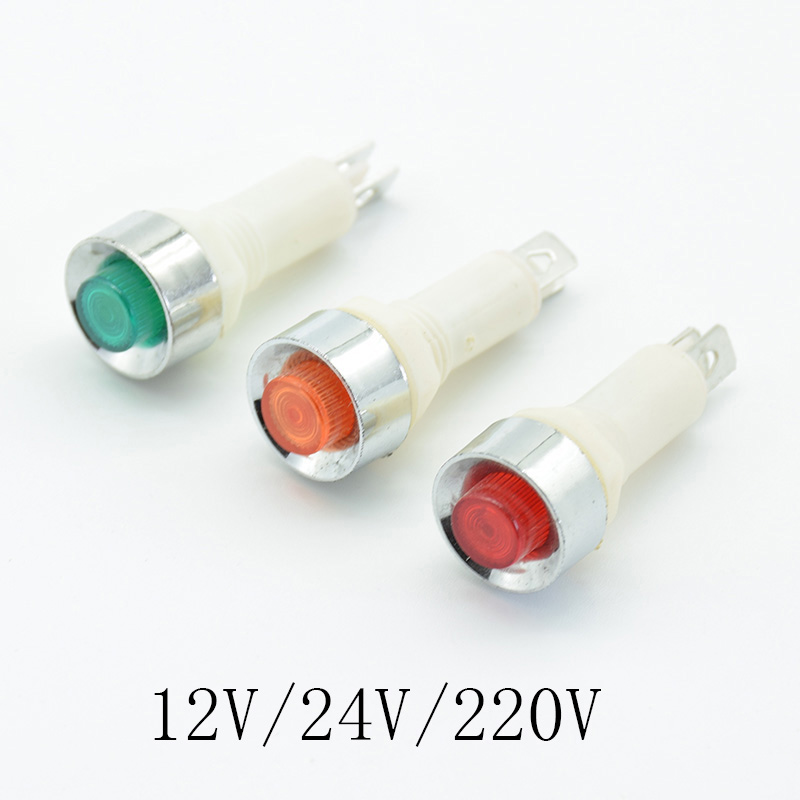 5Pcs Signal Lamp Panel Mounting Neon Indicator Red Green Yellow Lights 220V 12V/24VDC 10mm NHC Pilot Guiding