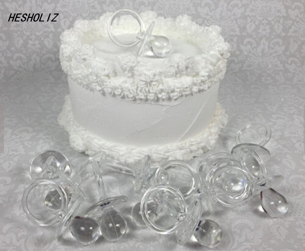 12 Large Clear Pacifiers for Neutral Baby Shower or Gender Reveal DIY Games, Necklaces, Favors, Gift Wrap Charm, Decorations