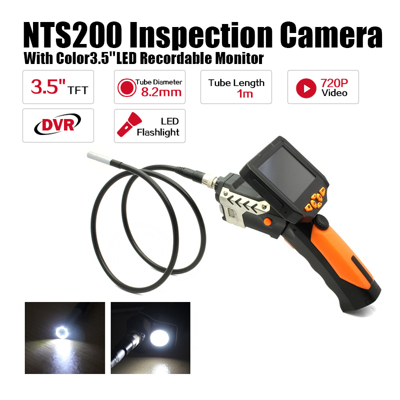 Blueskysea NTS200 Endoscope Inspection Camera with 3.5 Inch LCD Monitor 8.2mm Diameter 1 Meter Tube Borescope Zoom Rotate Flip supereyes 3 5 monitor waterproof borescope videoscope 9mm diameter 800mm snake tube endoscope camera with led inspection n012j