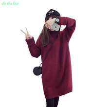 Knitted sweater girl winter knitted turtleneck warm sweater Long  section coat girl's leisure clothing knit turtleneck Thickenin turtleneck geometric knitted sweater