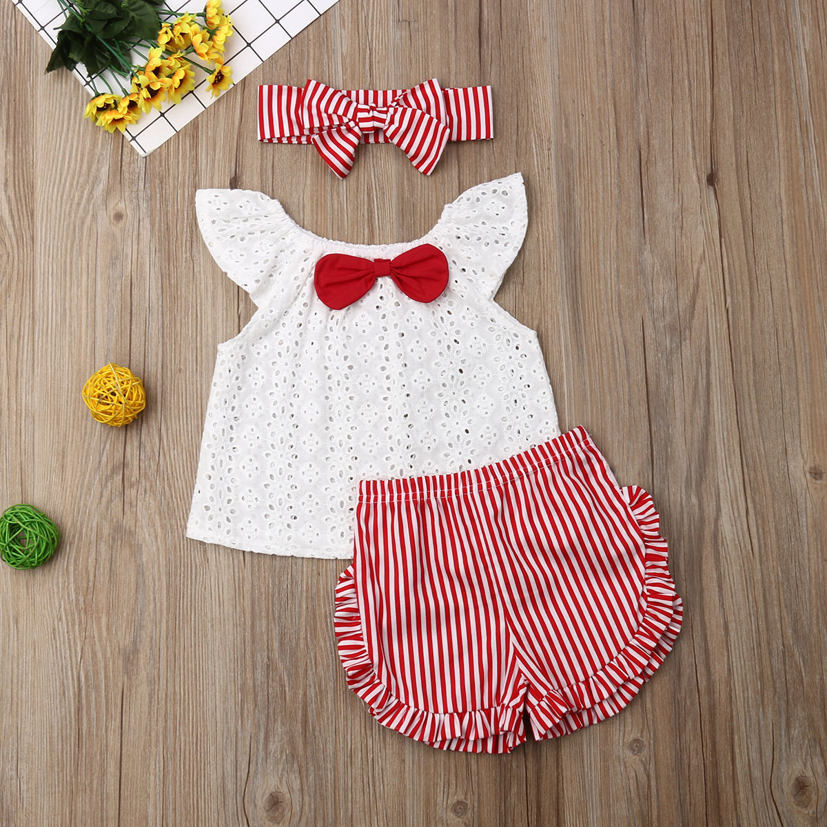Pudcoco Newborn Baby Girl Clothes Fly Sleeve Tops Striped Short Pants Bowknot Headband 3Pcs Outfits Clothes Summer