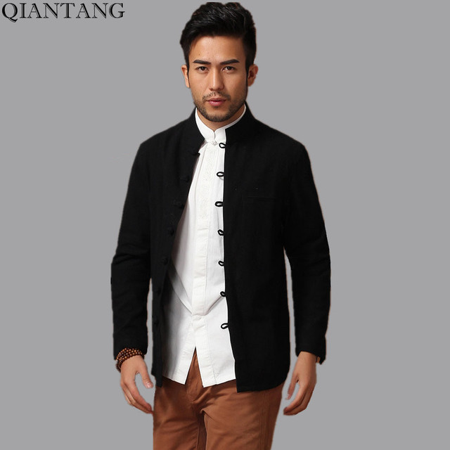 187d28b21e Top Selling China Men Cotton Linen Kung Fu Jacket Black Spring Long Sleeves  Coat hombre chaqueta Size M L XL XXL XXXL Mim14D
