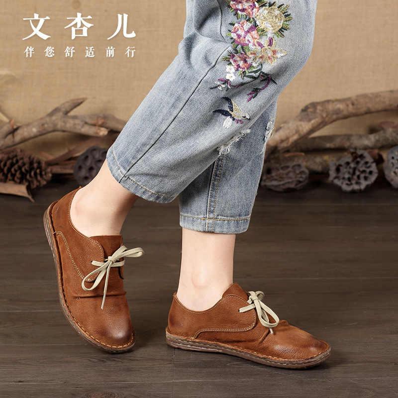 2018 Ilkbahar Yaz Yeni Hakiki Deri Kadın Ayakkabı Rahat deri ayakkabı Kadınlar Için düz ayakkabı Bayanlar Bağcık Loafer'lar