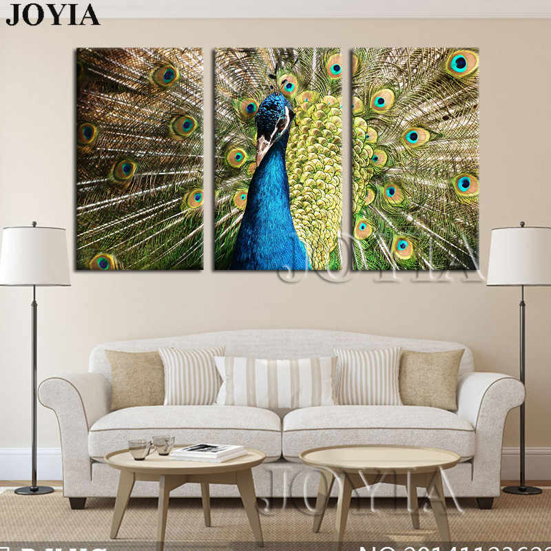 Peacock Wall Pictures Modern Bird Painting Canvas Prints Peafowl Wall Art Posters Home Decor 3 Pieces/set No Frame