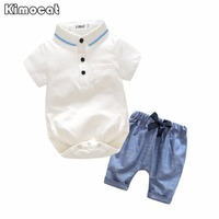 Newborn Baby Boy Clothes Short Sleeved White Romper Pants Toddler Baby Girls Clothing Set