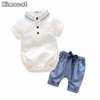 Newborn Baby Boy Vestiti a maniche corte Bianco Pagliaccetto + Pants Toddler Neonate Che Coprono L'insieme
