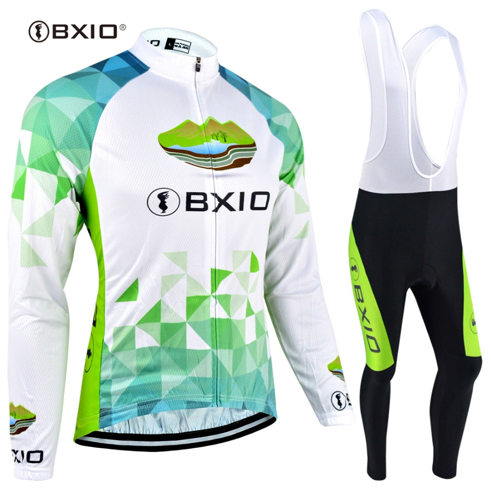 BXIO Womans Long Sleeve Winter Fleece Cycling Jersey Sets Breathable Full Zipper Bicycle Sportswear Cycling Clothings 040