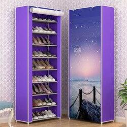 10 уровневая Простая Стойка для обуви, Пылезащитная многослойная стойка для обуви, тканевая стойка для студенческого общежития, обувной шка...