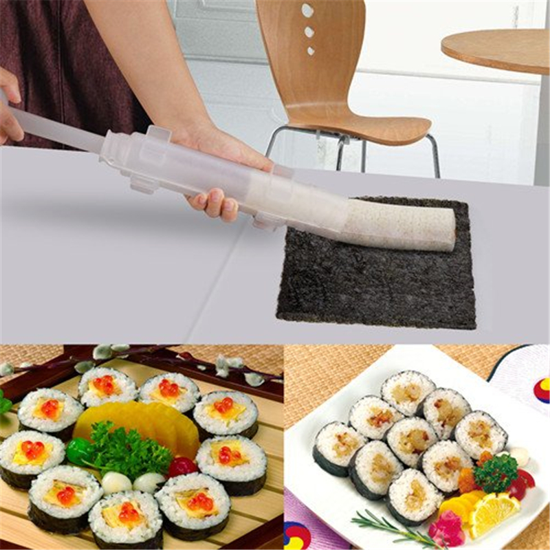 Roller Sushi Roll Mold Making Kit Tools Sushi Bazooka Rice Meat Vegetables DIY Making Kitchen Gadgets Accessories Supplies Stuff sun sushi