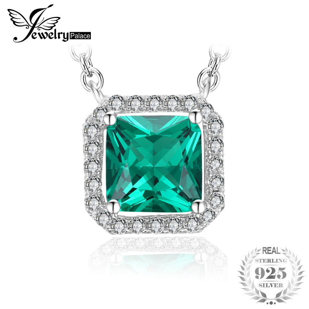 JewelryPalace Square 1.2ct Created Emerald 925 Sterling Silver Solitaire Pendant Necklace 45cm Chain For Women Fine JewelryJewelryPalace Square 1.2ct Created Emerald 925 Sterling Silver Solitaire Pendant Necklace 45cm Chain For Women Fine Jewelry