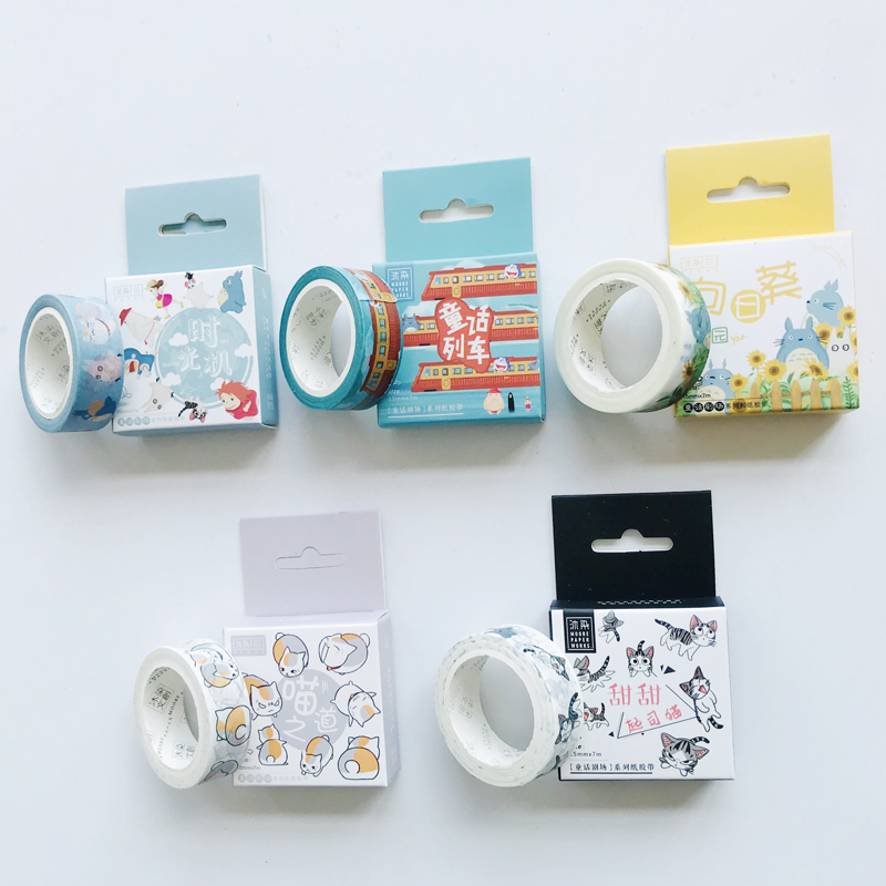 1.5cm*7m Cute Totoro Train Cat Chis Doreamon Masking Tape Scrapbooking Decorative Washi Tape Diary Notebook Album DIY Craft