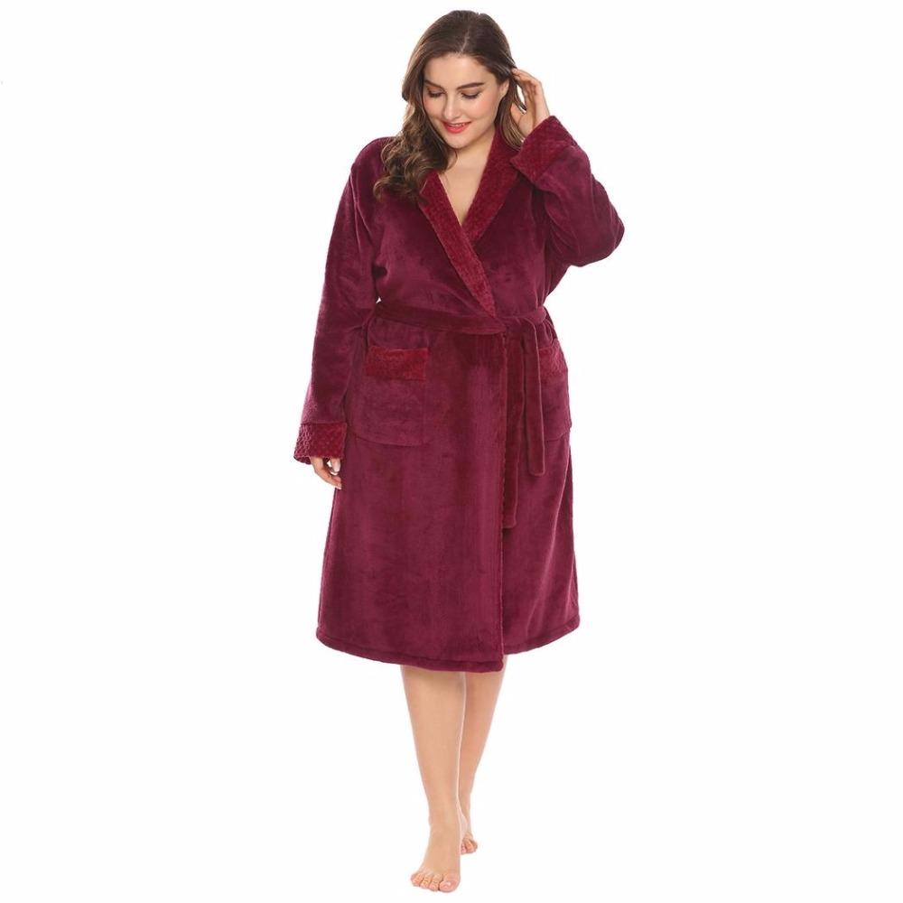 Large Size 5XL Winter Plush Flannel Bathrobe Women Long Sleeve Shawl Collar  Spa Soft Warm Plus Dressing Gown Sleepwear Peignoir 7498dd631