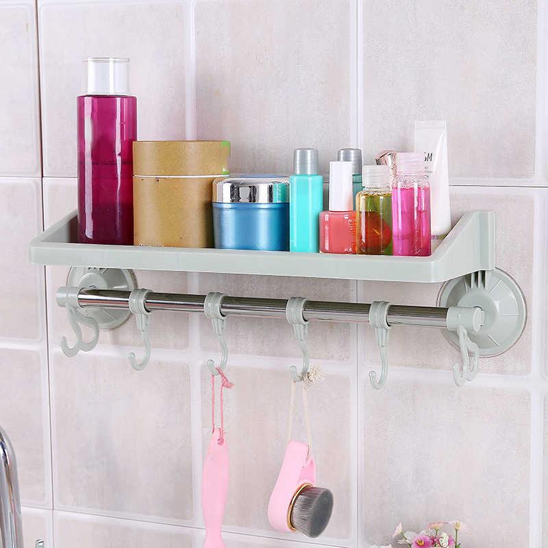 Пластик вакуумной присоски Полка на присосках стены подвесное хранение стойки для ванной удар-Бесплатная Кухня аксессуары