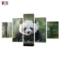 WEEN Framed 5Pcs Animal Large Panda Wall Pictures For Living Room HD Printed Modern Cuadros Decoracion