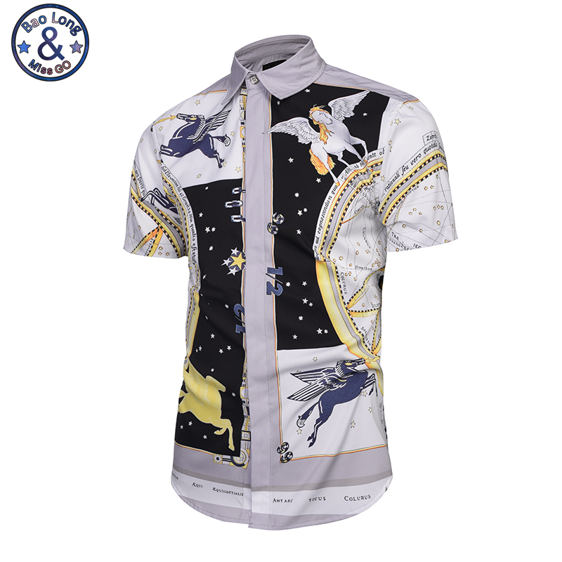 Mr.BaoLong 2017starry sky The angel white horseGolden Flowers Shirts Men 3d Shirts Short Sleeve Summer Brand Shirts Fashion Tops