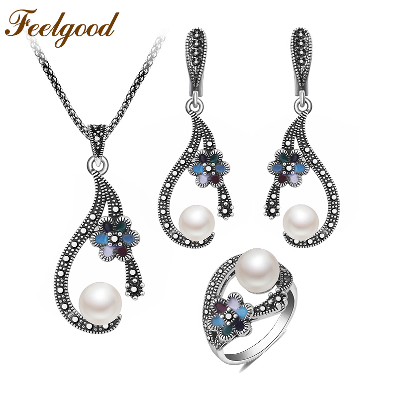 Feelgood Individuality Vintage Silver Color Jewellery Exquisite Enamel Small Flower And Imitation Pearl Jewelry Sets For Women