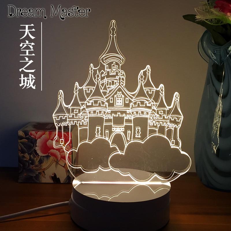 3D Nightlight creative novelty gift to send to friends birthday cat animation desk lamp bedside lamp. cap eu to send carp