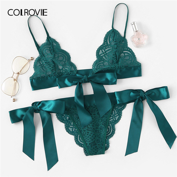 COLROVIE Green Tie Side Scalloped Trim Ribbon Lace Lingerie Set