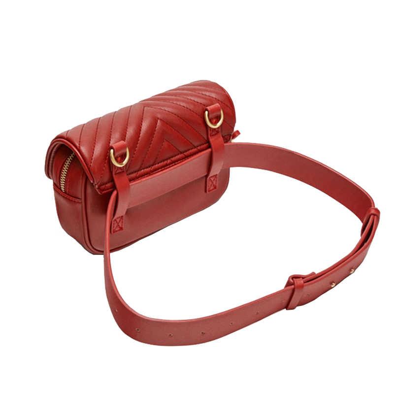 a1aef0f96755 ... Women Waist Bag 2019 New Fashion Brand Leather Belt Bag Lady Fanny Pack  Handy Belt Pack ...