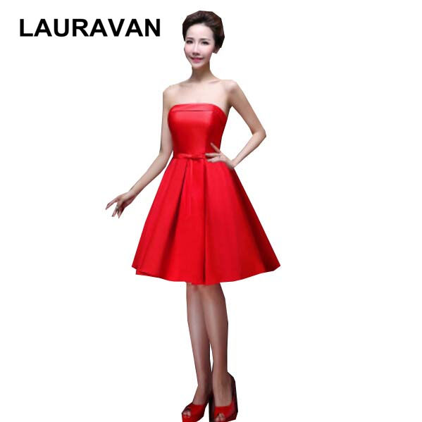 Black And Red Strapless Holiday Bridesmaid Vintage Dresses Brides Maid Unique Gowns Pageant Dress For Sweet 16 Free Shipping