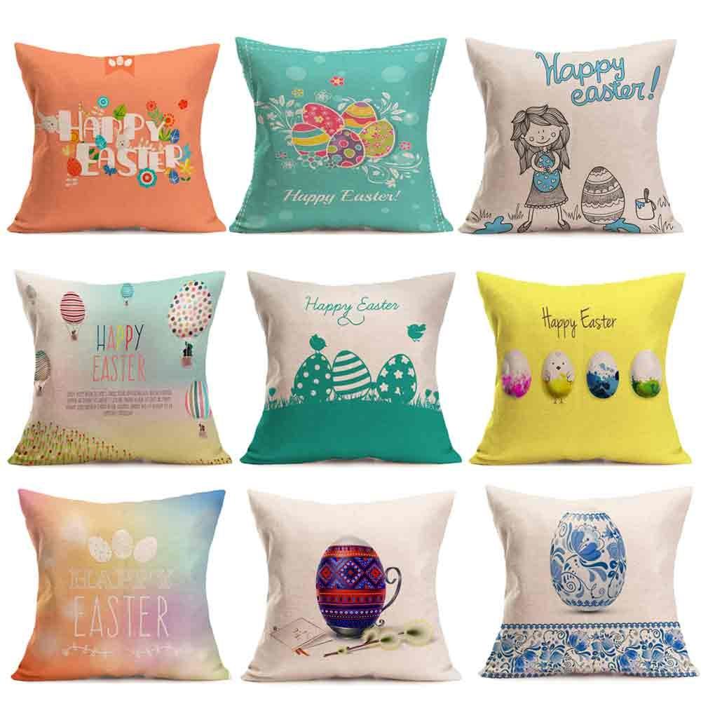 Aliexpress.com : Buy Happy Easter Eggs Linen Throw Pillow Case Easter Bunny Pillow Cover ...