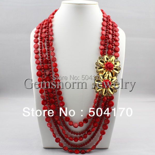 New Arrival! Fashion Strands Red Coral Necklace Mix Round/Disc Coral Beaded Jewelry Unique Design CNR135