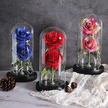 Две розы Красавица и Чудовище красная роза в стеклянном куполе на деревянной основе светильник в виде роз на День святого Валентина рождественский подарок домашний декор