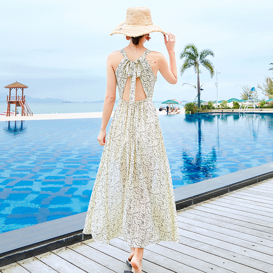 2019 New Vintage White Print Chiffon Boho Midi Dresses Summer Plus Size Beach Vacation Sexy Maxi Sundress Elegant Women Vestidos in Dresses from Women 39 s Clothing