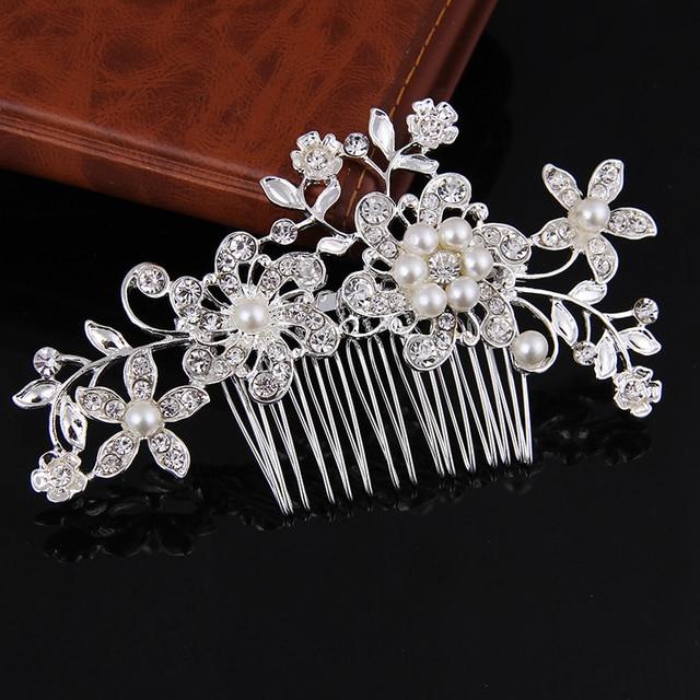 Beaucoup de Style Argent Perle Strass De Cheveux De Mariage Peigne Pour Les Femmes Cristal Bijoux De Cheveux À La Main Coiffe De Mariée Cheveux Accessoires 3