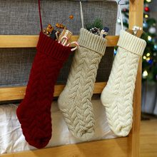 Decoração de casa Dom Saco Pendurado Folha de Torção de Malha de Lã Flor Doces Meias de Natal