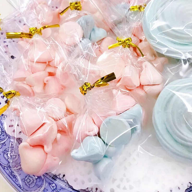 100 Pcs Transparent Plastic Bags Candy Lollipop Cookies Packaging Cellophane Bag Wedding Party Decorations Gift Bags