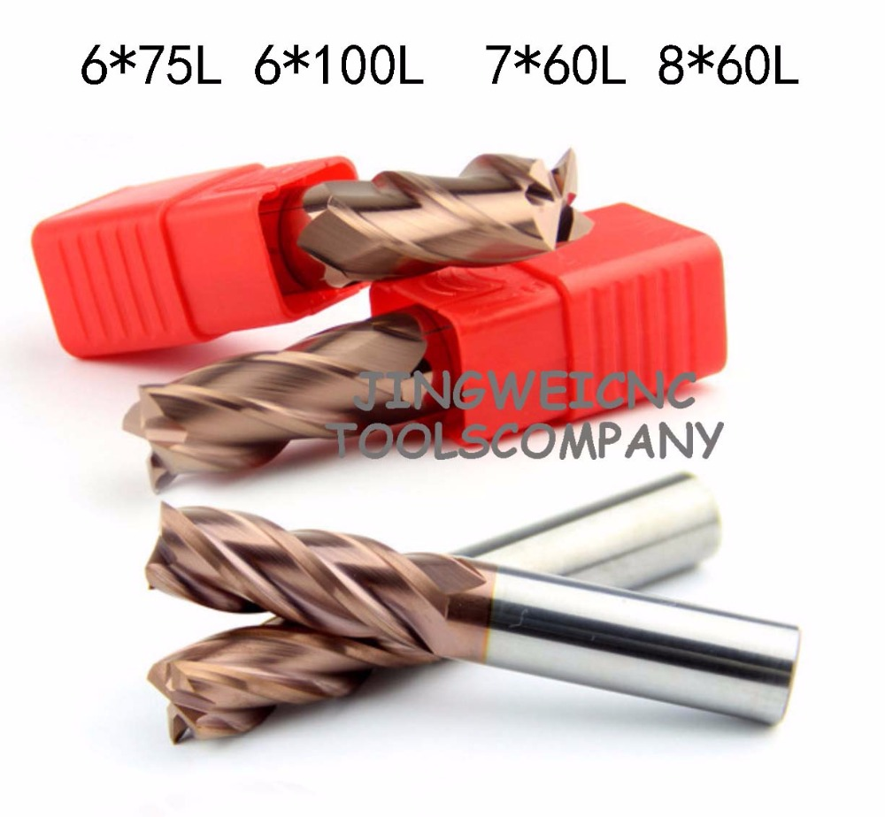 HRC55 high quality tungsten Carbide end mill extra long length 6mm,7mm,8mm and 60mm,75mm 100mm extended long length 60mm tungsten carbide tipped stainless