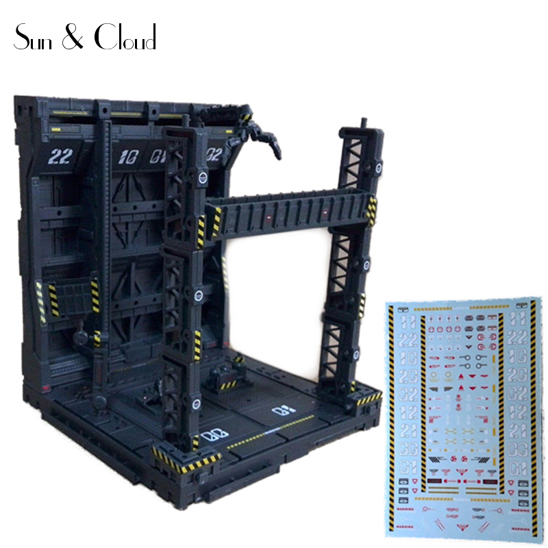 Freely Combined Gundam Hangar Domain Base Scenario Building Mechanical Chain Base Action Figure Model Decals for Base
