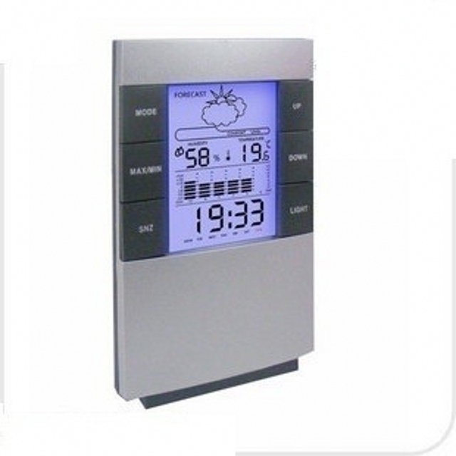 LCD Digital Hygrometer Humidity Thermometer Temperature Meter Indoor Weather Forecast Clock